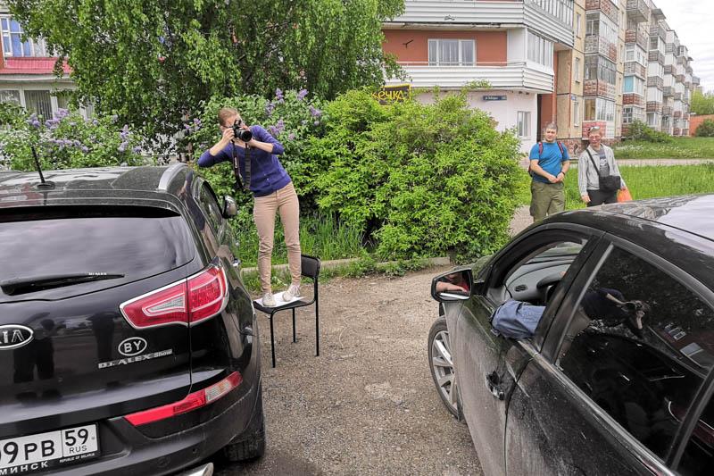 Рабочий момент корреспондента Екатерины Подчезерцевой, 2019 год.