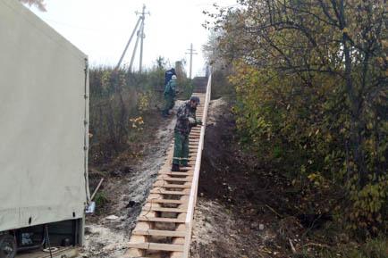 В Добрянке установили лестницу на комаровской горе