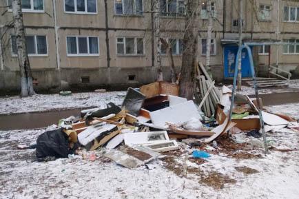 Добрянский двор зарастает мусором